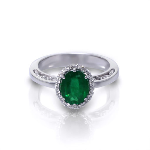 Oval Emerald Halo Ring