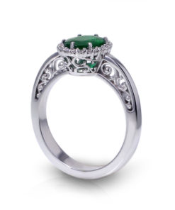 Oval Emerald Halo Ring-angle