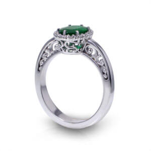 Oval Emerald Halo Ring-angle