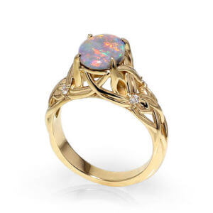 Opal Floral Ring