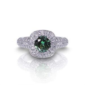 Green Tourmaline Diamond Ring-top
