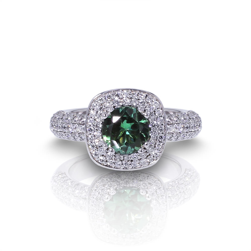 Green Tourmaline Diamond Ring-top