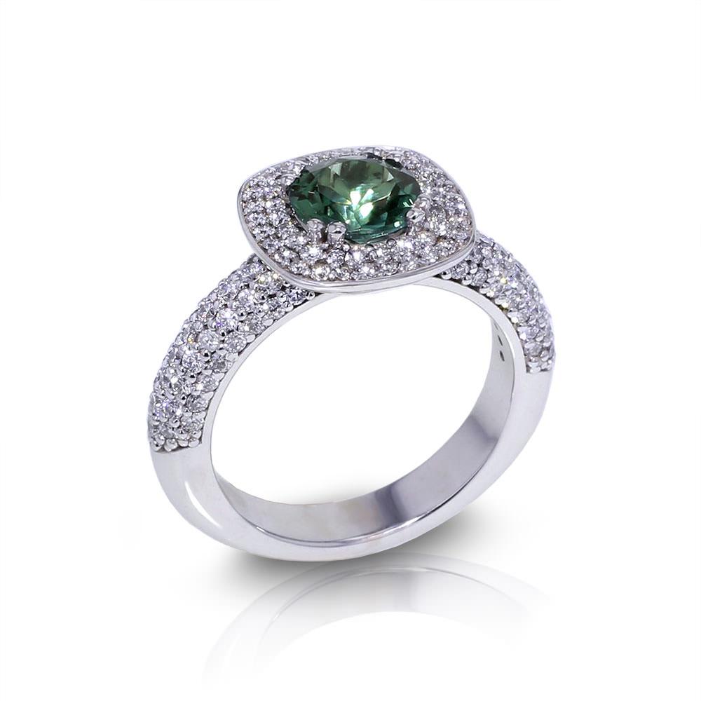 Green Tourmaline Diamond Ring Angle