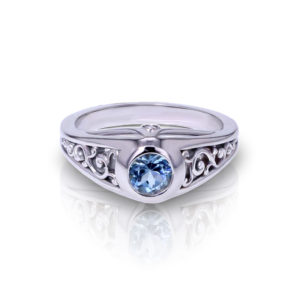 Blue Topaz Filigree Ring
