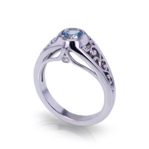 Blue Topaz Filigree Ring