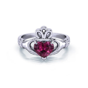 Rhodolite Garnet Claddagh Ring