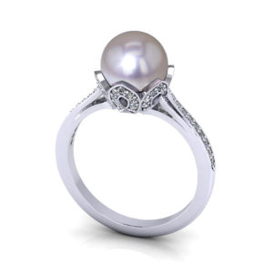 Diamond Cultured Pearl Ring