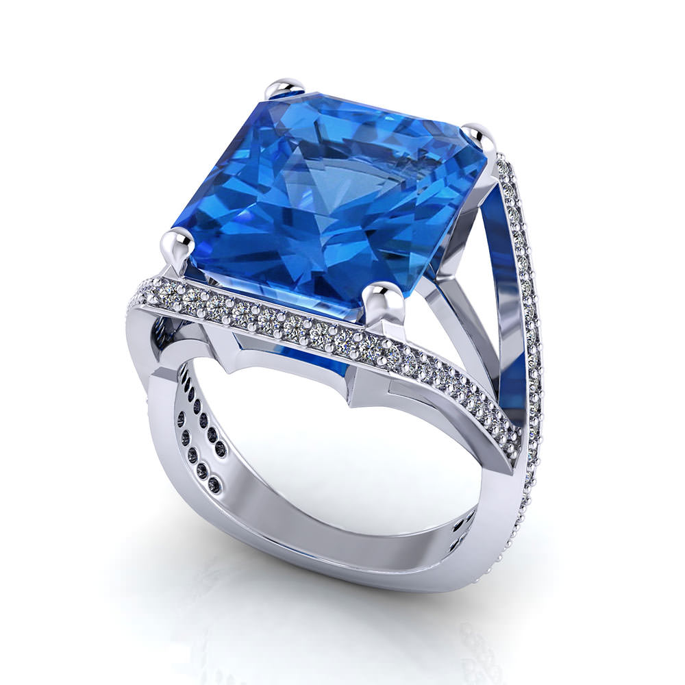 Split Diamond Blue Topaz Ring