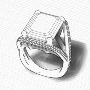 Split Diamond Blue Topaz Ring