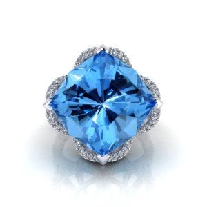 Diamond Blue Topaz Ring