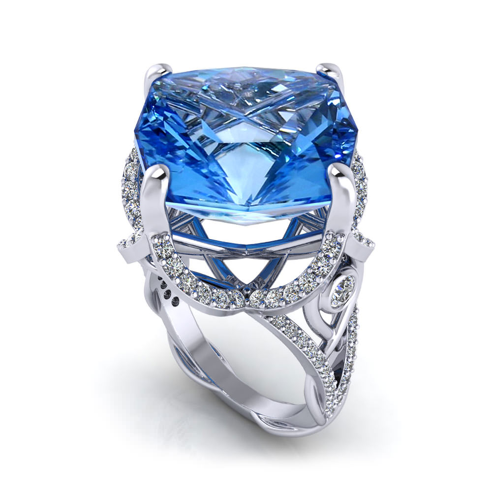Diamond Blue Topaz Ring
