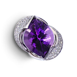 Pave Diamond Amethyst Ring