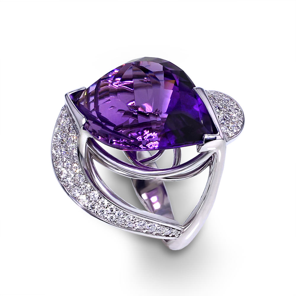 White Gold Diamond And Amethyst Eternity Ring