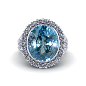 Filigree Blue Zircon Ring