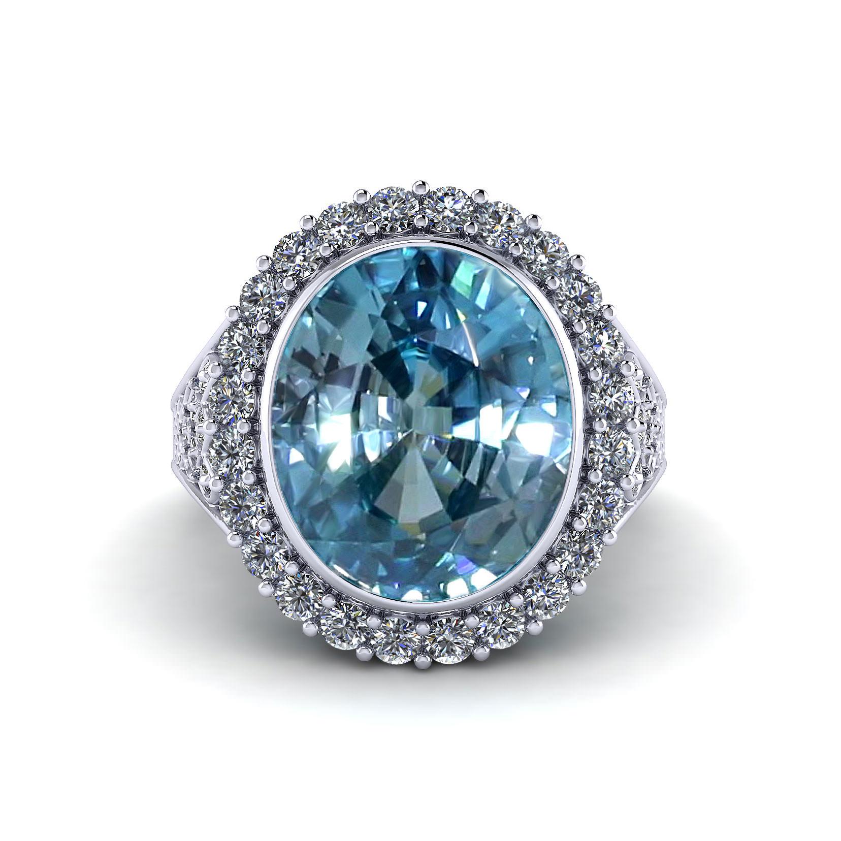 Filigree Blue Zircon Ring