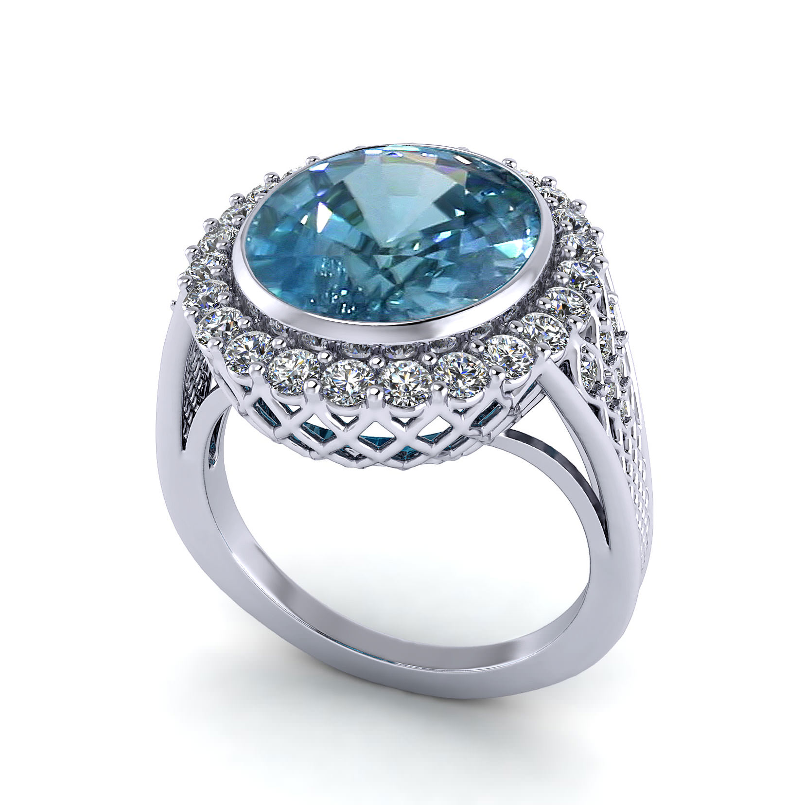 Super Filigree Blue Zircon Ring | Jewelry Designs UJ21
