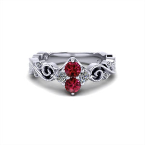 Scrolled Ruby Diamond Cluster Ring