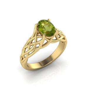 Artistic Peridot Woven Ring
