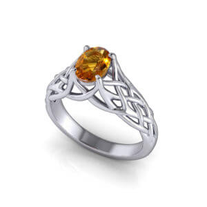 Artistic Citrine Woven Ring