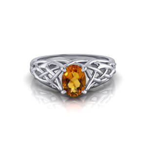 Artistic Citrine Woven Ring