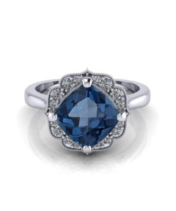 Chevron Halo Blue Topaz Ring