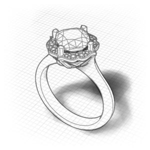 Chevron Halo Blue Topaz Ring