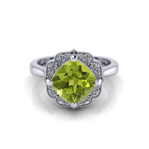 Chevron Halo Peridot Ring