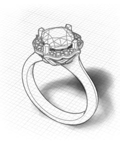 Chevron Halo Peridot Ring