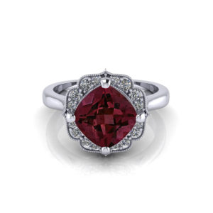 Chevron Halo Garnet Ring