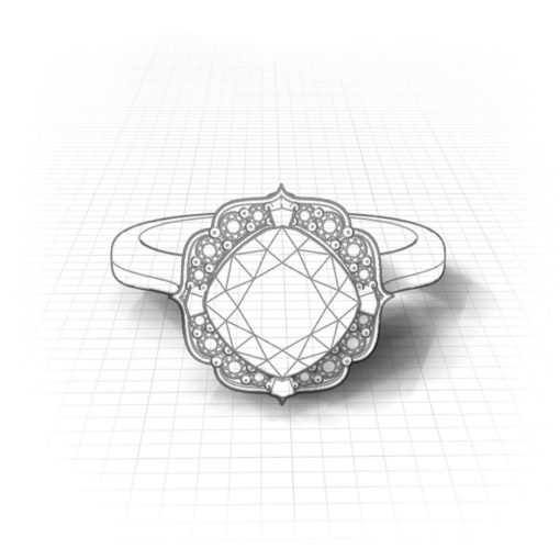 Chevron Halo Garnet Ring