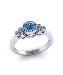 Diamond Aquamarine Bezel Ring