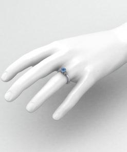 Diamond Aquamarine Bezel Ring