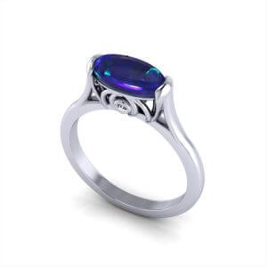Unique Black Opal Ring