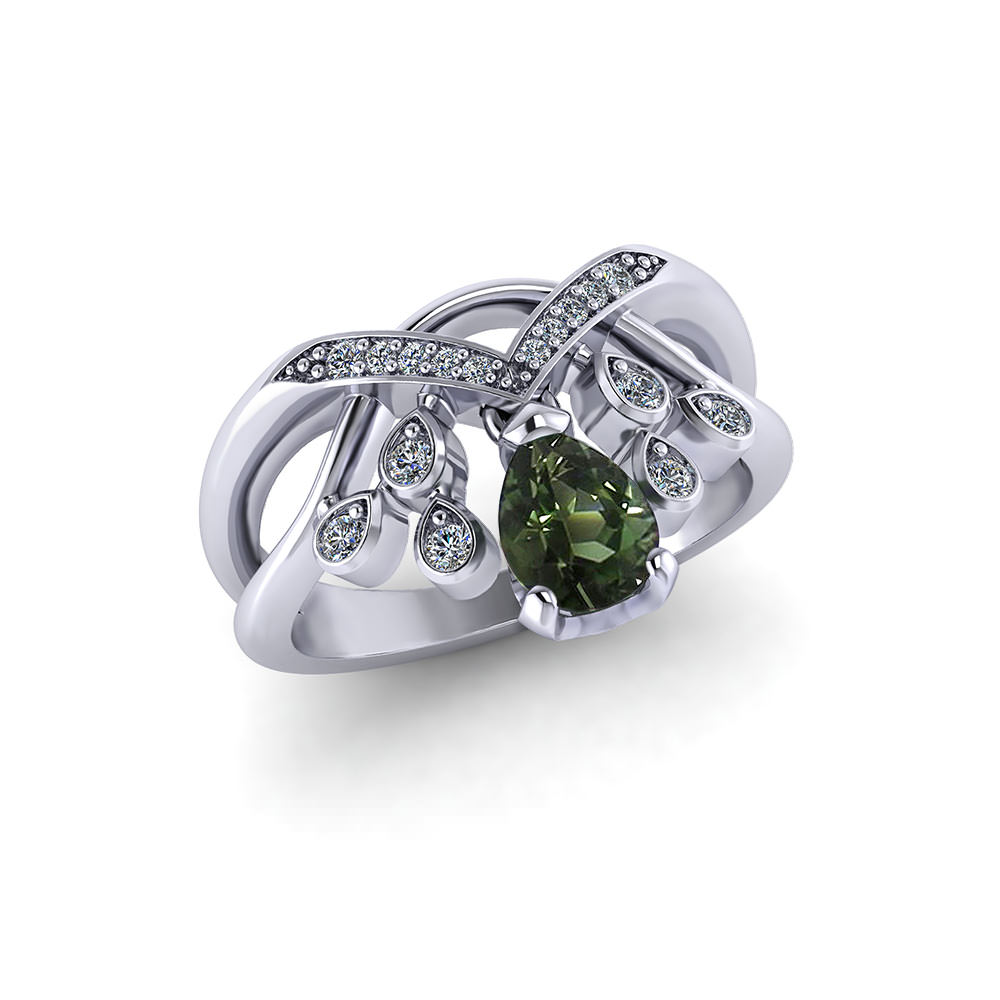 Green Tourmaline Motion Ring