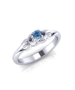 Floral Aquamarine Birthstone Ring