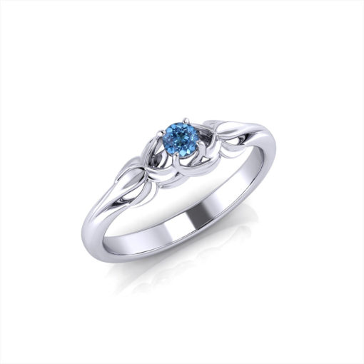 Floral Aquamarine Birthstone Ring