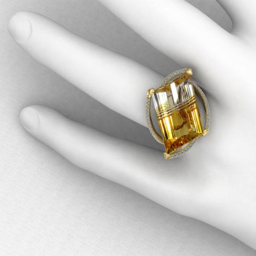 Horizontal Citrine Fashion Ring