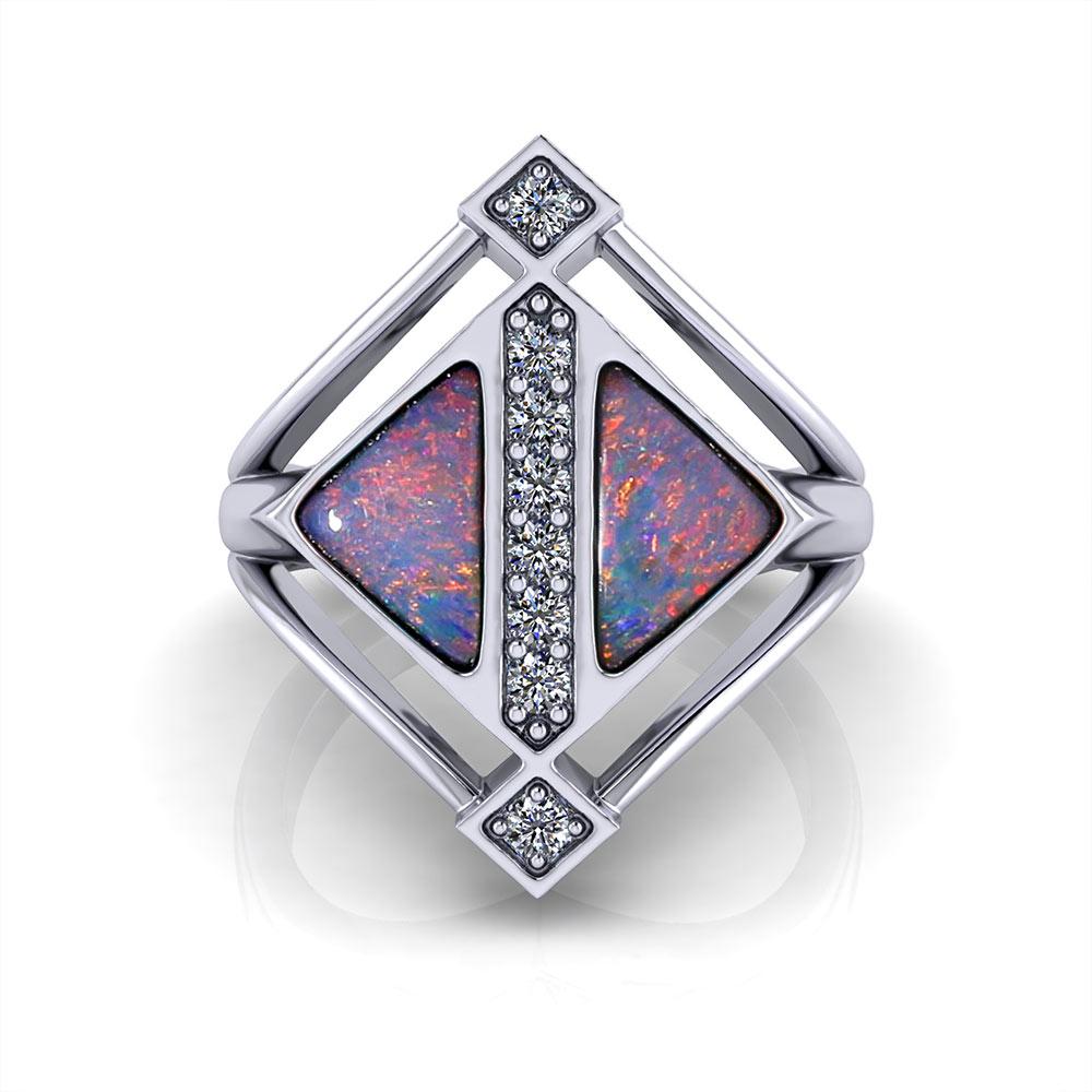 Geometric Boulder Opal Ring