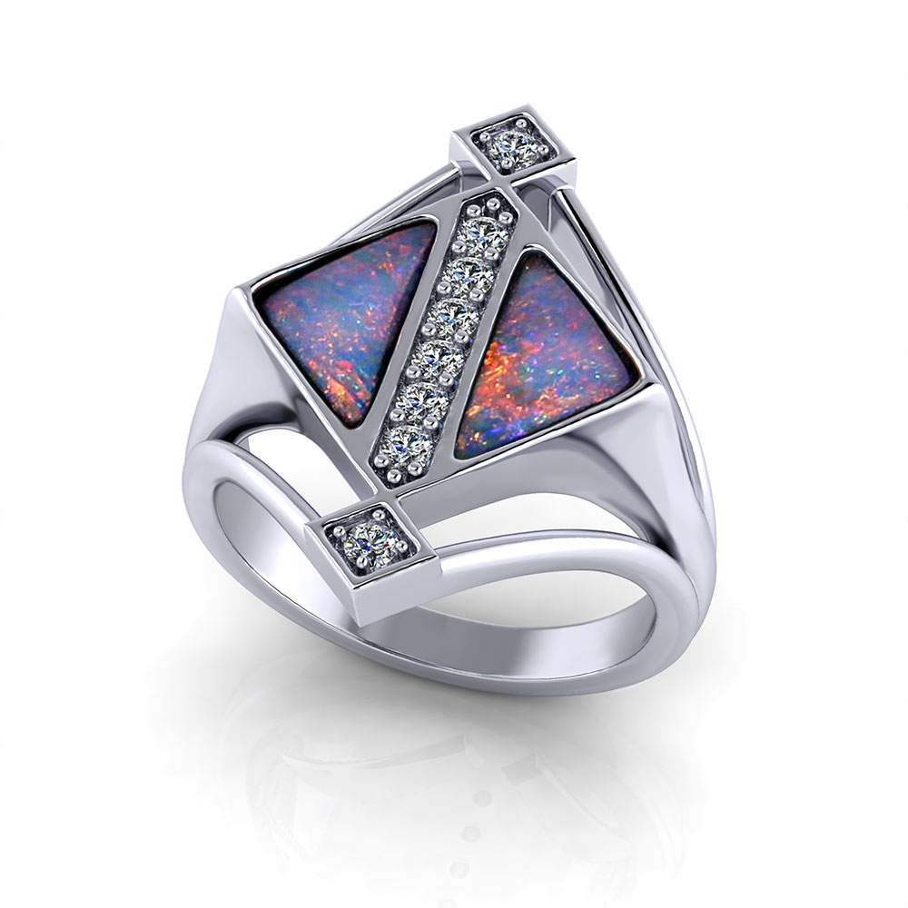 Geometric Boulder Opal Ring Jewelry Designs