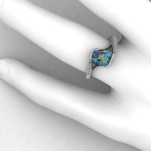 Boulder Opal Bypass Ring