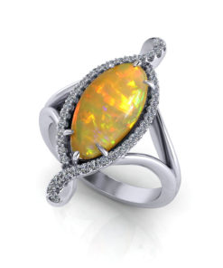 Long Designer Opal Ring