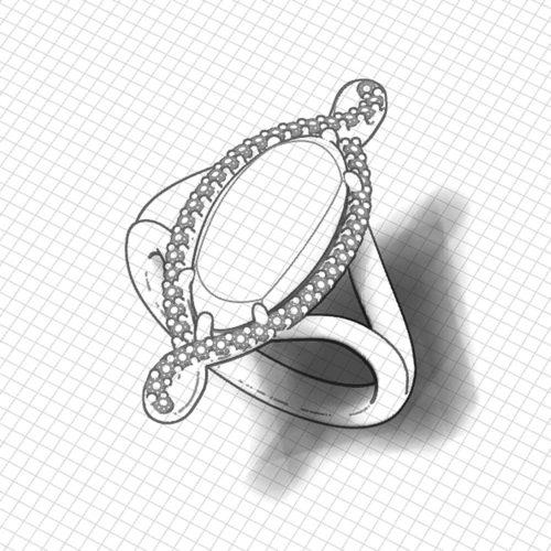 Long Designer Opal Ring