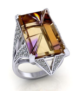 Pave Diamond Ametrine Ring
