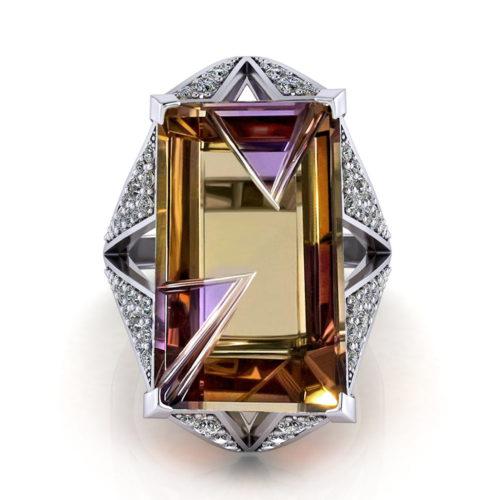 Pave Diamond Ametrine Ring