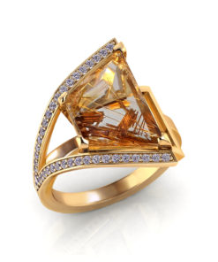 Artistic Rutilated Quartz Ring