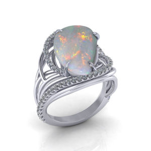 Artistic Opal Diamond Ring