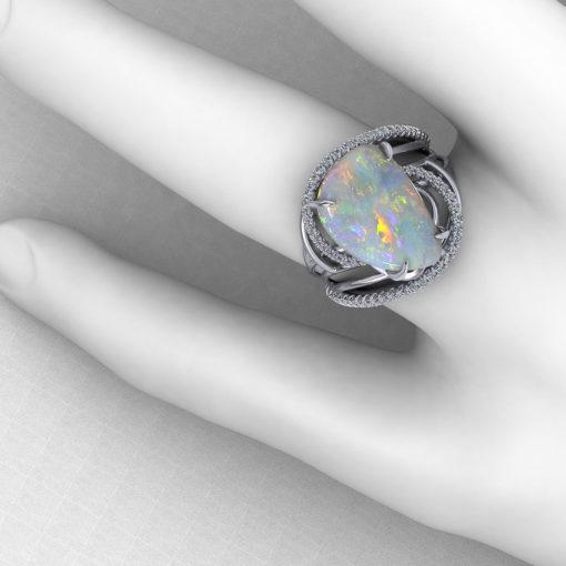 Artistic Opal Diamond Ring