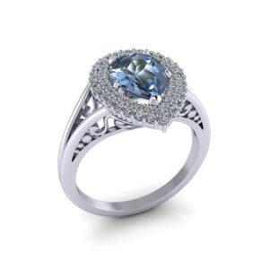 Aquamarine Pear Halo Ring