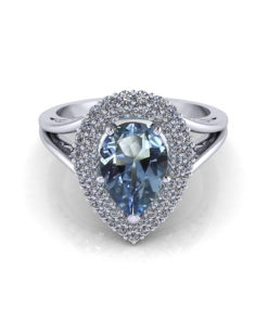 Aquamarine Pear Halo Ring