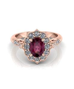Oval Rhodolite Rose Gold Ring